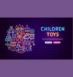 baby toys neon banner design vector image