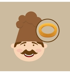 Baker holding bagel vector
