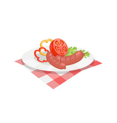 Bbq set sausage for barbecue on plate icon vector