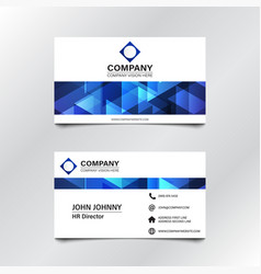 Blue geometric business card vector