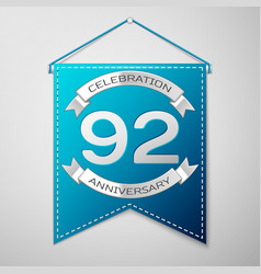 blue pennant with inscription ninety two years vector image