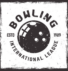 bowling league emblem in vintage style vector image