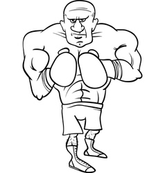 boxer sportsman cartoon coloring page vector image