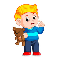 boys with cute brown teddy bears vector image