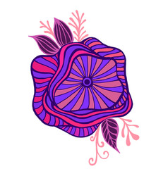 Bright purple pink blue fantasy flower framed vector