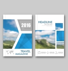 Brochure template travel magazine cover design vector