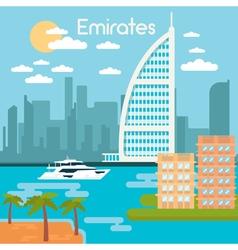 Burj Al Arab Hotel Dubai Urban Cityscape Dubai vector image