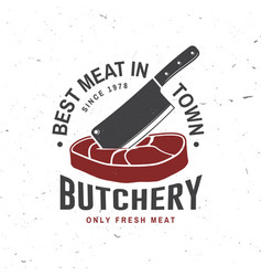 Butcher meat shop badge or label with steak and vector