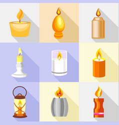 candle holder icons set cartoon style vector image