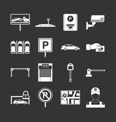 Car parking icons set grey vector