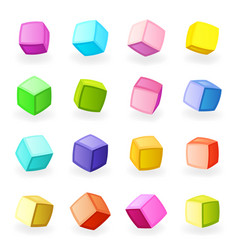 cartoon toy squares 3d modeling blocks isometric vector image