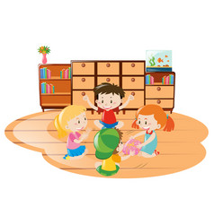 children playing game in the room vector image