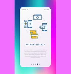 choosing of payment method in mobile app vector image