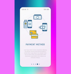 choosing payment method in mobile app vector image