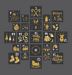 christmas advent calendar hand drawn elements vector image