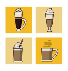 Coffee drinks icon set vector
