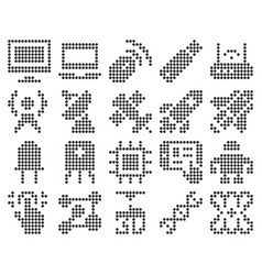 Collection dotted icons high technology vector
