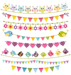 Colorful flags and garlands vector