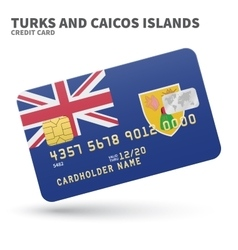 Credit card with Turks and Caicos Islands flag vector