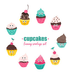 Cupcakes smileys collection vector