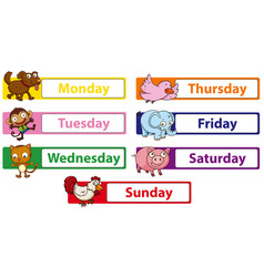 Days week with animals on signs vector