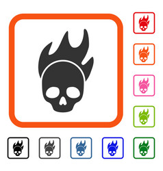 Death fire framed icon vector