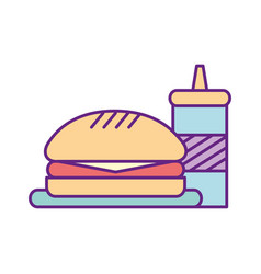delicious burger with sauce bottle vector image