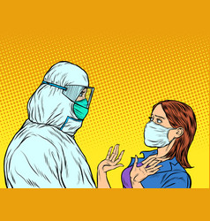doctor in protective suit and emotional patient vector image