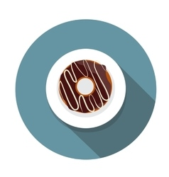 Donut Flat Icon with Long Shadow vector