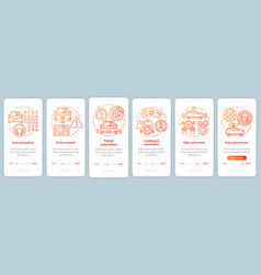 Driverless car stages onboarding mobile app page vector