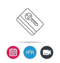 Electronic key icon Hotel room card sign vector
