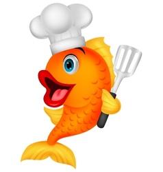 Fish chef cartoon vector image