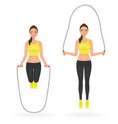 Fit girl doing exercises with jumping rope woman vector