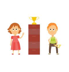 Flat cartoon boy girl pupil near gold cup vector