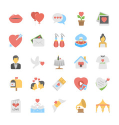 flat icons love and romance vector image