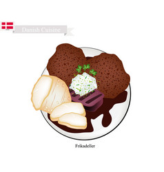 Frikadeller or fried beef patty popular dish in d vector