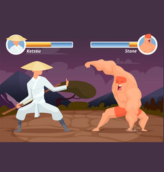 game fighting screen location of computer 2d vector image