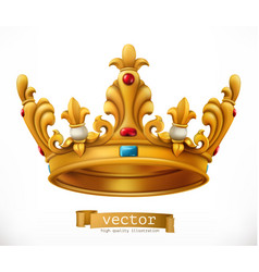 Gold crown king icon vector
