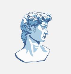 Greek sculpture cartoon male head graphic vector