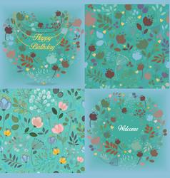 Green floral patterns set vector