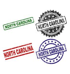 grunge textured north carolina seal stamps vector image