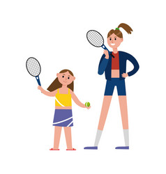 Happy mother playing tennis with her daughter vector
