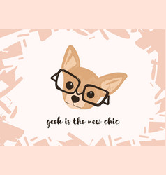Head of adorable dog wearing glasses and geek is vector