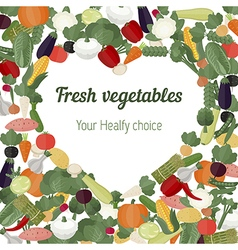 Heart with different vegetables icons vector