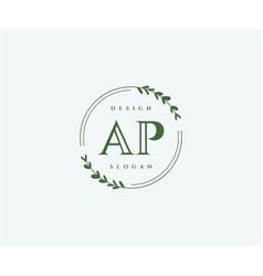 Initial ap beauty monogram and elegant logo design vector