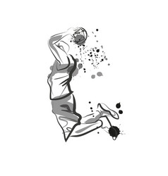 ink sketch of basketball player vector image