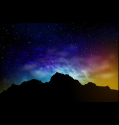 Landscape with mountains and night sky vector