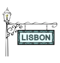 Lisbon retro vintage lamppost pointer vector