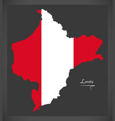 Loreto map with peruvian national flag vector