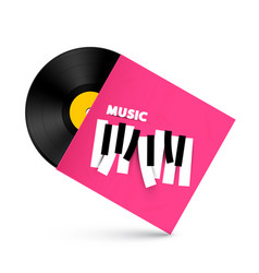 Lp vinyl record with music symbol on paper cover vector